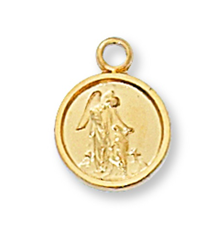Guardian Angel Medal 7/16 inch Sterling Gold Pendant