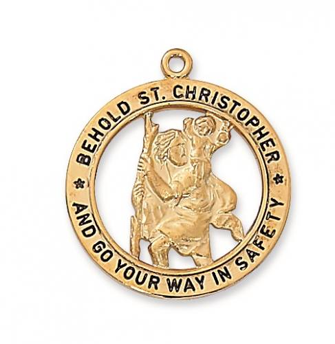 Saint Medal St Christopher 1 inch Sterling Gold Pendant Cut