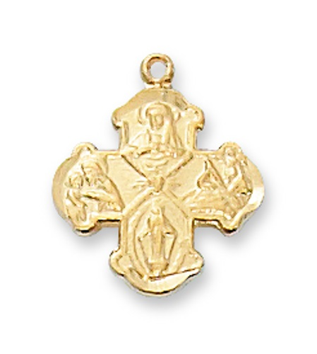 Four Way Medal Budded 1/2 inch Sterling Gold Pendant