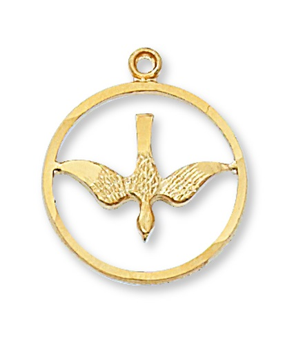Pendant Dove Cut 3/4 inch Sterling Gold