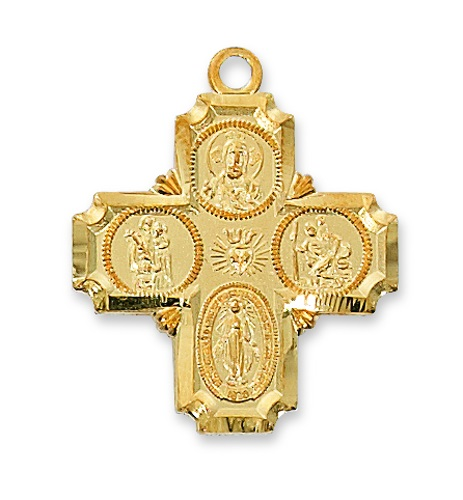 Four Way Medal Cross 1 inch Sterling Gold Pendant