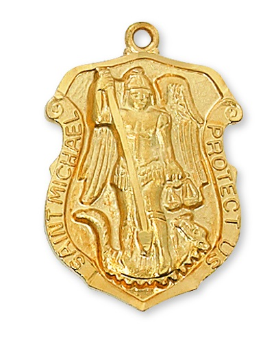 Shield Medal St Michael Archangel Police 1.25 inch Sterling Gold