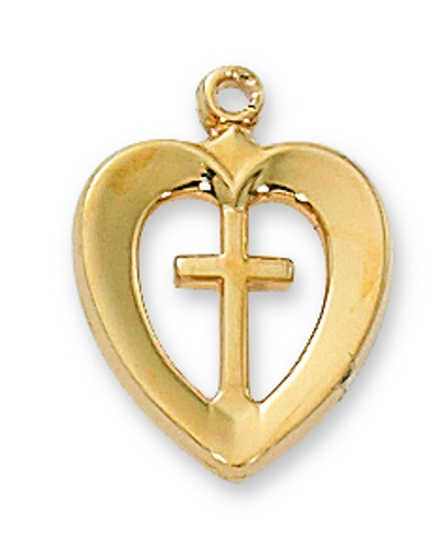 Cross Pendant Heart 1/2 inch Sterling Gold