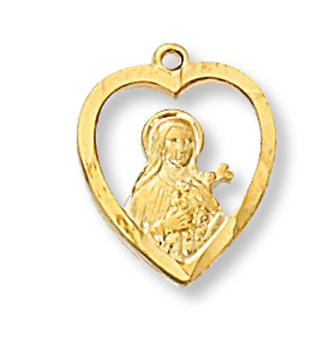 Saint Medal St Therese Lisieux Heart 1/2 inch Sterling Gold