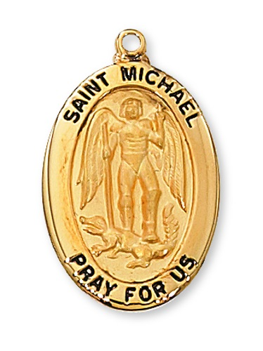 Saint Medal St Michael Archangel 1 inch Sterling Gold Pendant
