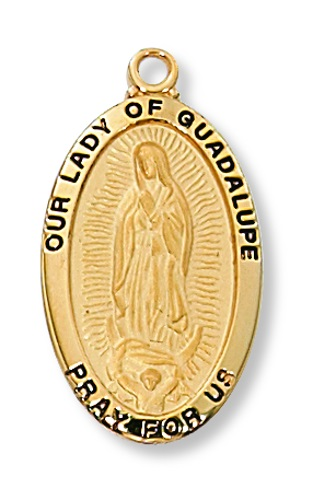 Mary Medal Our Lady Guadalupe 7/8 inch Sterling Gold Pendant