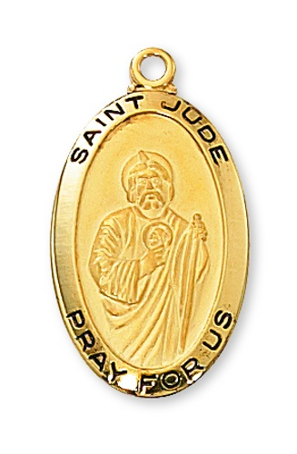 Saint Medal St Jude Thaddeus 7/8 inch Sterling Gold Pendant