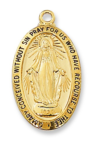 Miraculous Medal 7/8 inch Sterling Gold Pendant