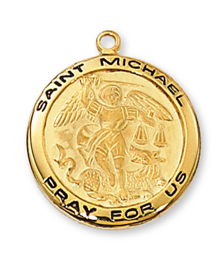 Saint Medal St Michael Archangel 3/4 inch Sterling Gold Pendant