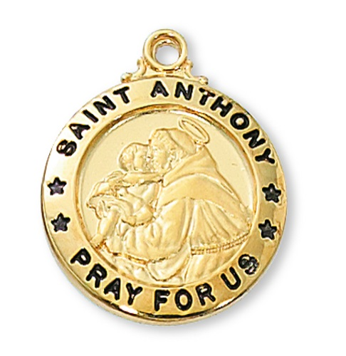 Saint Medal St Anthony of Padua 3/4 inch Sterling Gold Pendant