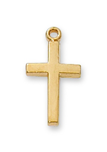 Cross Pendant Simple 1/2 inch Sterling Gold