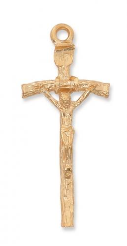 Crucifix Pendant Papal Ferula Cross 2 inch Sterling Gold