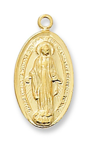 Miraculous Medal 3/4 inch Sterling Gold Pendant