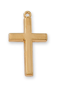 Cross Pendant Simple 1 inch Sterling Gold
