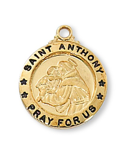 Saint Medal St Anthony of Padua 5/8 inch Sterling Gold Pendant