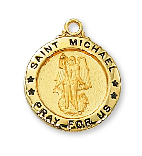 Saint Medal St Michael Archangel 5/8 inch Sterling Gold Pendant