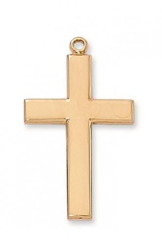 Cross Pendant Simple 1.25 inch Sterling Gold
