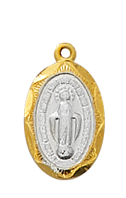 Miraculous Medal 1/2 inch Sterling Gold Two Tone