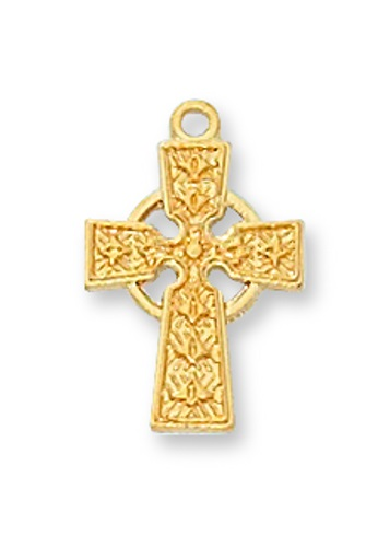 Cross Pendant Celtic 1/2 inch Sterling Gold