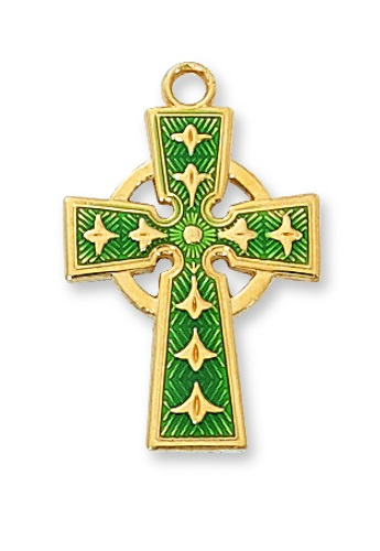 Cross Pendant Celtic 1 inch Sterling Gold Enameled