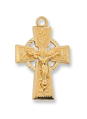 Crucifix Pendant Celtic 1 inch Sterling Gold