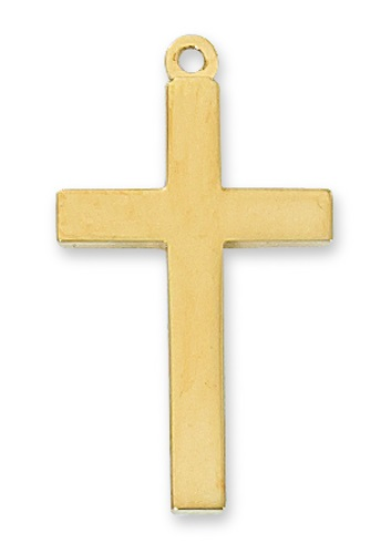 Cross Pendant Simple 1-1/8 inch Sterling Gold