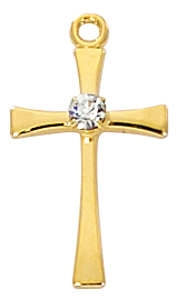 Cross Pendant With Crystal 3/4 inch Sterling Gold