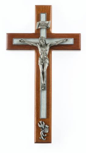 Crucifix Wall Baptism 10 inch Cherry White Inlay Silv Corpus
