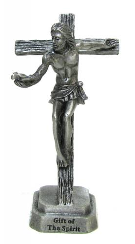 Crucifix Standing Gift of the Spirit 3.5 inch Pewter Silver