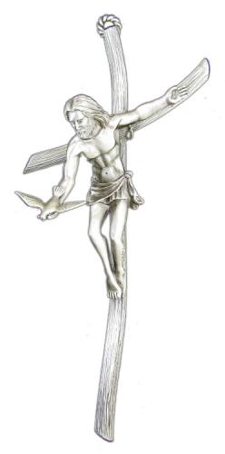 Crucifix Wall Gift of the Spirit 9 inch Pewter Silver
