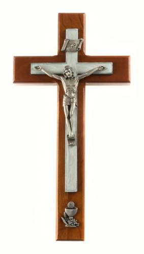 Crucifix Wall First Communion 10 inch Cherry White Inlay Silver