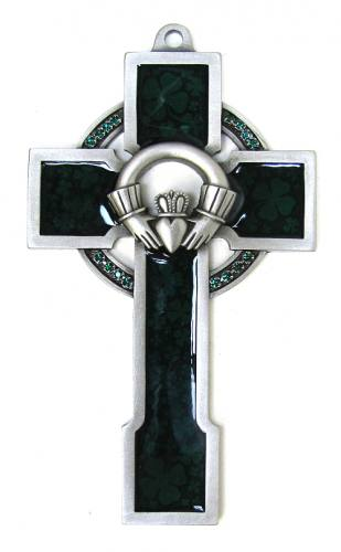 Cross Wall Celtic Claddagh 5 inch Pewter Silver Enameled