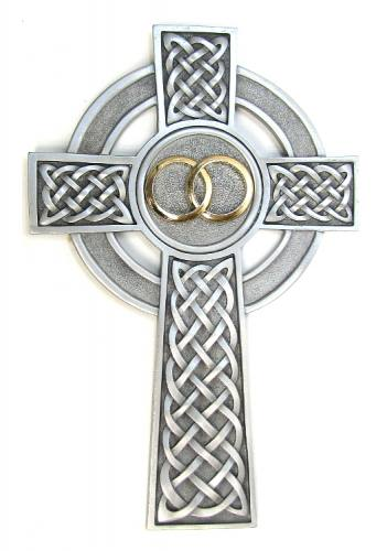 Cross Wall Celtic Knot Wedding Rings 8 inch Pewter Silver