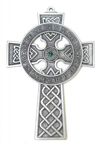 Cross Wall Celtic Irish Blessing 5 inch Pewter Silver