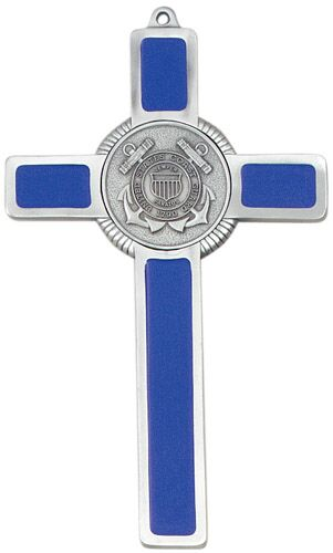 Cross Wall US Coast Guard 8 inch Pewter Silver