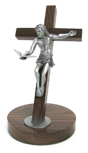 Standing Crucifix Gift of the Spirit 8 inch Oak Silver Corpus