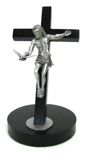 Crucifix Standing Gift of the Spirit 8 inch Black Silver Corpus