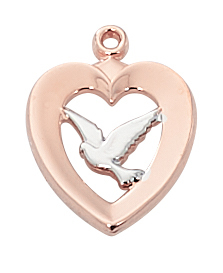 Pendant Dove Heart 1/2 inch Sterling Silver Rose Gold Two Tone