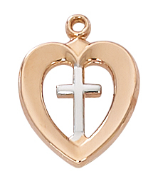 Cross Pendant Heart 1/2 inch Sterling Silver Rose Gold Two Tone