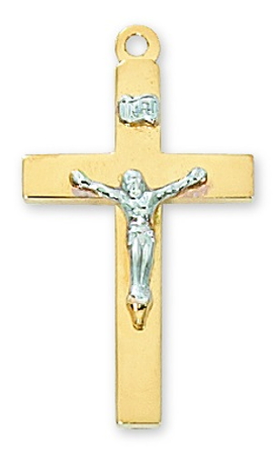 Crucifix Pendant Simple 1-1/8 inch Sterling Gold Tutone