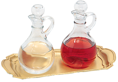 Cruets Set & Tray Glass 10 oz