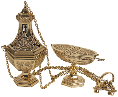 Thurible & Boat Church 4 Chain Gothic Plated Bright Brass