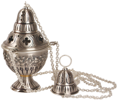Thurible & Boat Church 4 Chain Deluxe Plated Satin Silver