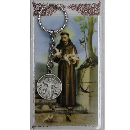 Keychain Fob St Francis Assisi Medal Pewter Silver