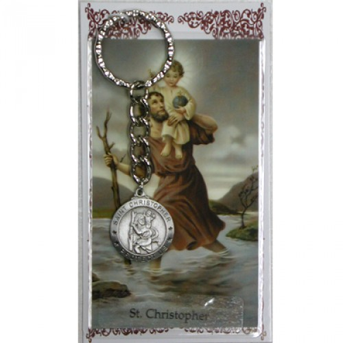 Keychain Fob St Christopher Medal Pewter Silver