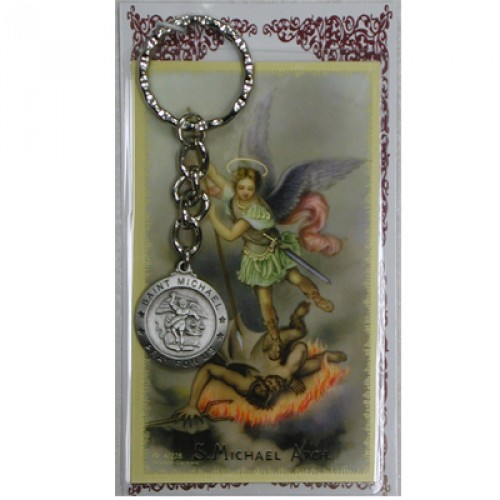 Keychain St Michael Archangel Medal Pewter Silver Card