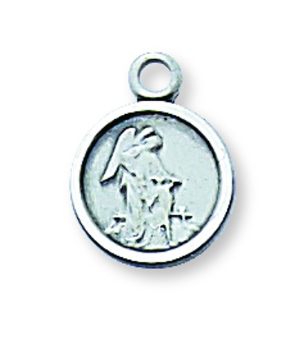 Guardian Angel Medal 7/16 inch Sterling Silver Pendant