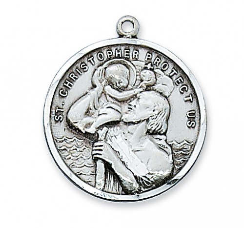 Saint Medal St Christopher 1 inch Sterling Silver Pendant