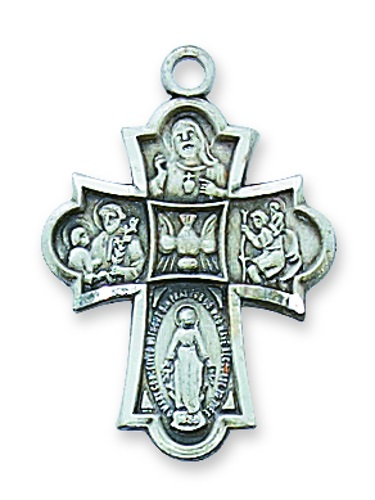 Four Way Medal Classic 1 inch Sterling Silver Pendant