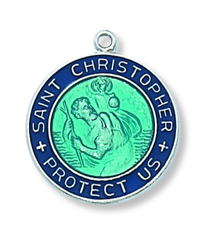 Saint Medal St Christopher 3/4 inch Sterl Silver Pendant Blue